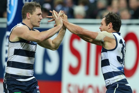 Joel Selwood celebrates with Steven Motlop